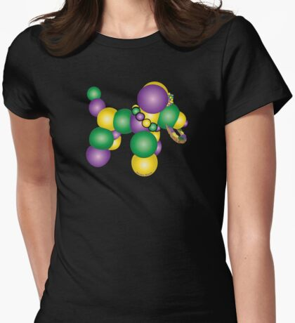 Mardi Gras Dog Womens Fitted T-Shirt