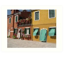 Candy Stripes and Flowers - Streetscape Burano Italy Art Print