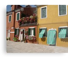 Candy Stripes and Flowers - Streetscape Burano Italy Metal Print