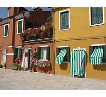 Candy Stripes and Flowers - Streetscape Burano Italy Photographic Print