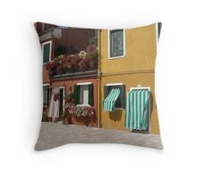 Candy Stripes and Flowers - Streetscape Burano Italy Throw Pillow