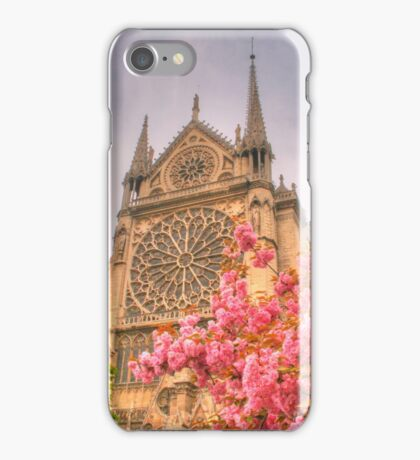 Notre Dame with cherry blossoms iPhone Case/Skin