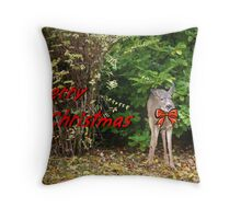 Merry Christmas Doe Deer With Bow Christmas Card Throw Pillow