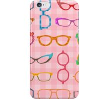 Eyeglasses Retro Modern Hipster with Pink Gingham iPhone Case/Skin