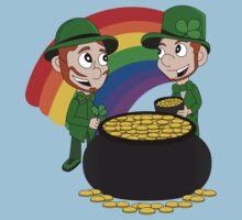 Cartoon leprechauns with pot of gold Kids Clothes