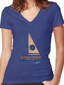 The Tribal Sailboat Women's Fitted V-Neck T-Shirt
