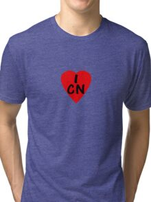 I Love China - Country Code CN T-Shirt & Sticker Tri-blend T-Shirt