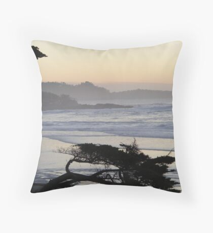 Point Lobos Through Foggy Sunset Throw Pillow