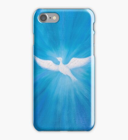 White dove flying on blue sky iPhone Case/Skin