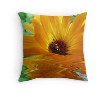 Floating Flower and Bee Throw Pillow