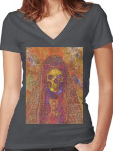 Gothic Decorative Skeleton Women's Fitted V-Neck T-Shirt