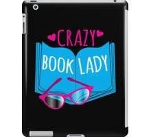 Crazy Book Lady with a pair of glasses and a book in blue iPad Case/Skin