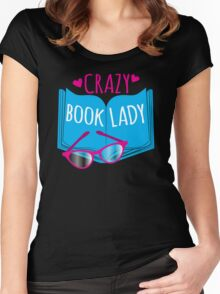 Crazy Book Lady with a pair of glasses and a book in blue Women's Fitted Scoop T-Shirt