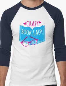 Crazy Book Lady with a pair of glasses and a book in blue Men's Baseball ¾ T-Shirt