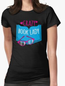 Crazy Book Lady with a pair of glasses and a book in blue T-Shirt