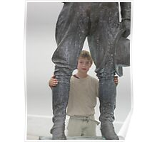 Young interloper with historic statue Poster