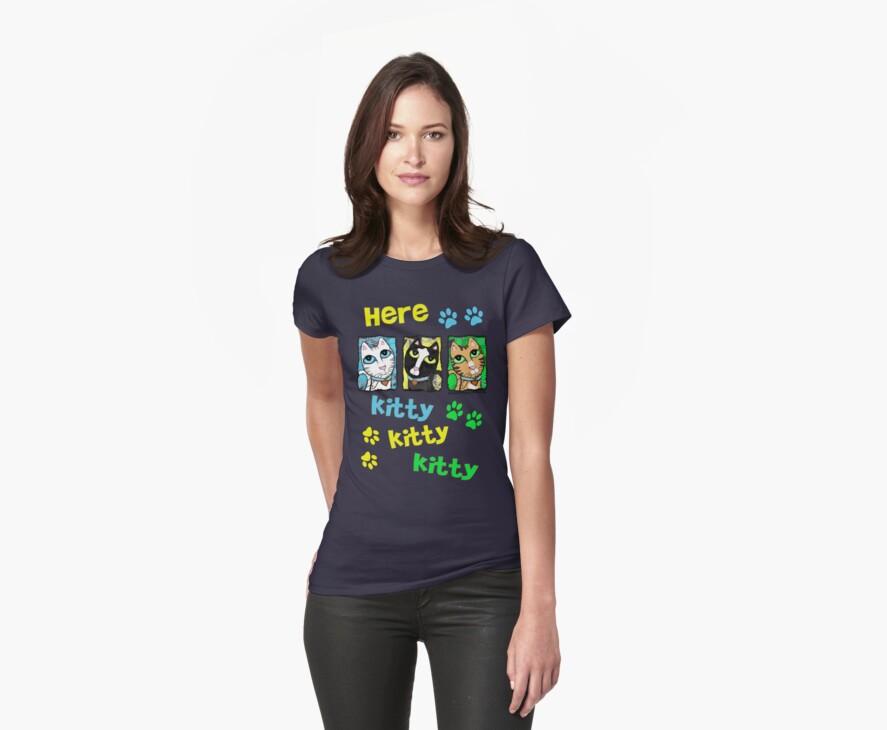 Pop Cat Triptych T-Shirt by Jamie Wogan Edwards