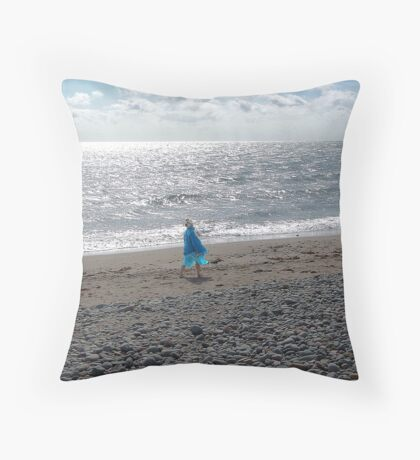 Windblown Lady Throw Pillow