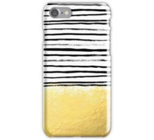 Blaire - Brushed Gold Stripes - black and gold, gold trend, gold phone case, gold cell case iPhone Case/Skin
