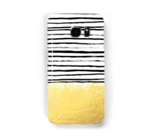 Blaire - Brushed Gold Stripes - black and gold, gold trend, gold phone case, gold cell case Samsung Galaxy Case/Skin