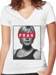 Starbuck - Frak - Battlestar Galactica Women's Fitted V-Neck T-Shirt