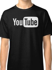 YouTube Full Logo - Full White on Black Classic T-Shirt