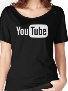 YouTube Full Logo - Full White on Black Women's Relaxed Fit T-Shirt