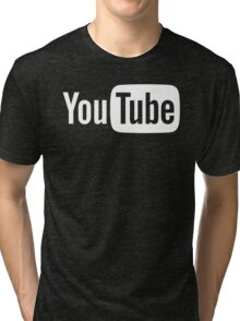 YouTube Full Logo - Full White on Black Tri-blend T-Shirt