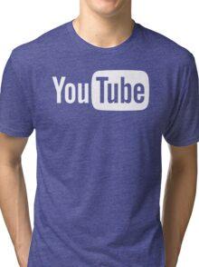 YouTube Full Logo - Full White on Black Tri-blend T-Shirt