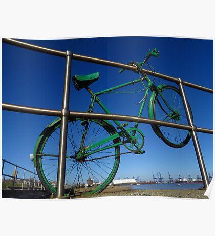 Green Bike, Silver Railings Poster