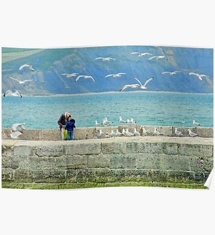 Feeding The Gulls At Lyme Poster