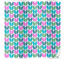 Tulip Knit (Blue Pink Green) Poster