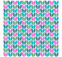 Tulip Knit (Blue Pink Green) Photographic Print