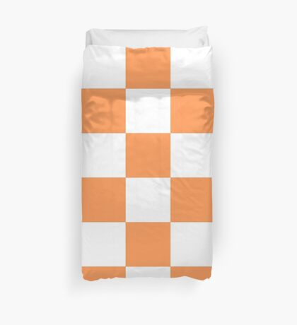 Orange And White Checkered Print Duvet Cover
