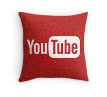 YouTube Full Logo - Full White on Pattern Red Throw Pillow
