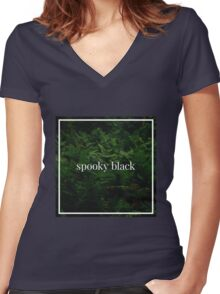 Spooky Black Women's Fitted V-Neck T-Shirt