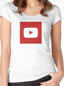 YouTube Play Logo - Full White on Pattern Red Women's Fitted Scoop T-Shirt