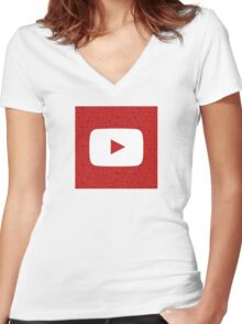 YouTube Play Logo - Full White on Pattern Red Women's Fitted V-Neck T-Shirt