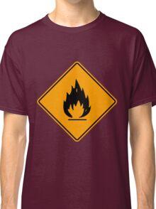 Flammable Yellow Diamond Warning Sign Die Cut Sticker Classic T-Shirt