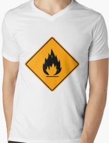 Flammable Yellow Diamond Warning Sign Die Cut Sticker Mens V-Neck T-Shirt