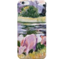 Basic Cows at Pond iPhone Case/Skin