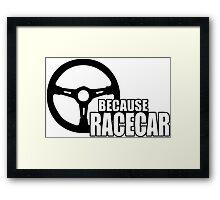 Because Racecar Framed Print