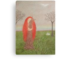Animals Spirit: Girl with Fox Rabbits and Bird Canvas Print
