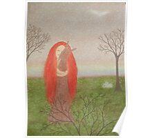Animals Spirit: Girl with Fox Rabbits and Bird Poster