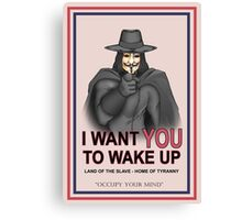 """V For Vendetta """"Wake Up"""" Canvas Print"""