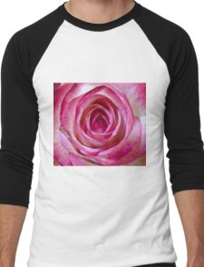 Pink rose close up Men's Baseball ¾ T-Shirt