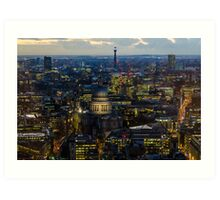 London, St Paul Cathedral and skyline at night Art Print