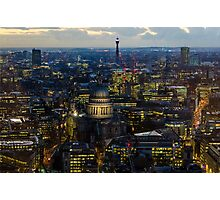 London, St Paul Cathedral and skyline at night Photographic Print