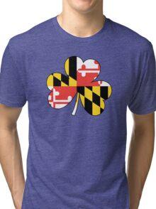 Maryland Flag Four Leaf Clover Tri-blend T-Shirt