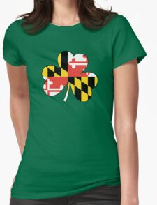 Maryland Flag Four Leaf Clover Womens Fitted T-Shirt